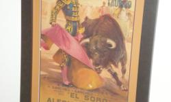 """Original Bull fighter poster mounted and framed 43"""" x 26"""" Distressed wood Indonesian window mirror. 34"""" x 30"""" Indonesian design solid wood coffee table with marble top 22"""" x 18"""" Single Faux Suede Chair $50.00 Queen Size head and foot board with planks and"""