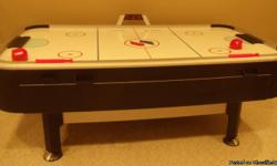 Air hockey game that is in great condition! It has an electronic score board that keeps score as someone gets a goal and also has a certain amount of time on it for the length of your game! If you don't want to use the electronic score board, you can also