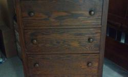 "This is a beautiful American antique 4 drawer dresser that is made out of oak and dates from 1890-1900. The antique Chest is approx. 45 3/4"" tall, 26"" wide, 16 1/8"" deep, and it is in great original condition! Made by Catawba Furniture Co in Marion NC."