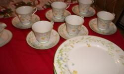 """""""Reverie"""" Green Trim - Full 6 place setting in perfect condition! Some extra pieces included as well. This pattern is discontinued, was manufactured from 1974 - 1986. sugar bowl w lid, creamer, gravy boat, and 4 crystal goblets included. Call -- or -- if"""