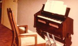 Pump Organ mahogany folding type gothic influence C1900 brass handle High St Pool C F Smith England
