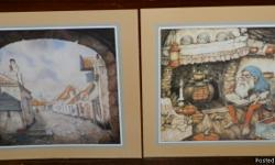 "Here are 2 Anton Pieck prints - these were printed in Holland. Each print measures 10"" x 10"" - the actual picture is approx. 7 1/2"" x 7 3/4"". The Elf picture is not dated so I am not sure when he painted this one. The other print is dated 1987 and is"