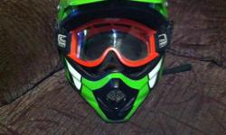 Green ATV,AFX helmet for sale. About 8 years old. With velcro goggles. stored for 4 years. It is no use for me. The size is a ,xxxxl, helmet.