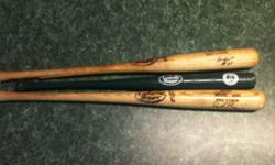 Two Augusta GreenJackets autographed broken bats and one souvenir bat $15 each for the broken bats $10 for the souvenir bat or all together $35