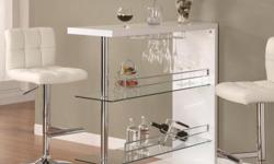 Item Description Be the envy of all your friends with this sleek contemporary bar unit. Equipped with 2 glass storage shelves and a wine glass holder, it has all the storage you need to mix a drink of any kind. Complete the bar by setting matching