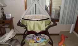 have a bassinet only like 4 months old my baby is 12 weeks and only used it like three times he has acid refluxs and can not lay flat it needs to go it moves back and forth and playes music my number is 561-493-2840