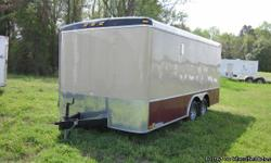 Beige and Brandywine Concession Trailer $11733 8?W x 16? L x 6.5 H 10? concession door 36? side door 10? window awning 110 volt electrical package Axle (Tandem) E track (against the wall) LED exterior lighting White vinyl ceilings, flooring Marble