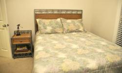Beautiful queen size bed room suit with matching end table, chest and matching mirror (mirror not attached in picture) Never been use. It is in my spare bed room and we need to down size because the room is so tiny. The bed room suit was $1,100.00 a few
