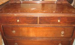 Nice, depression era chested drawerswith mirror and double bed frame. Call Fred 432-7038