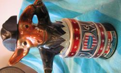 SEALED Jim Beam Decanters - one Elephant (Republican) and one Donkey (Democrat) from 1976. Both have aged whiskey still with original seal in tact. The whiskey was age for 100 months before being bottled in 1976!