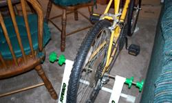 Bicycle with exercise converter for back wheel. Call -- for details or to purchase.