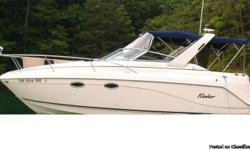 2003 Rinker Fiesta Vee 270 boat, low hours, nice boat for sale. 5.7 liter engine with Merc Cruiser, Bravo III outdrive, Boat is loaded has a rador arch with 12 volt TV/VCR, kenwood stereo with 6 disc CD changer and comes with 2 external remotes, Stereo