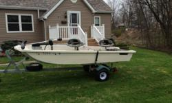 """1980 12' fiberglass TriHull Gamefisher. Good Condition. Rated for 10 hp motor and up to 3 people. Boat & trailer measures 15'6"""" long and 52"""" wide. Galvanized trailer 1 7/8"""" ball. New roller bunks, new tires, new bearings. 1 year"""