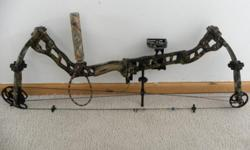 "BOWTEC VFT--60-70 lb draw weight--27""-30"" draw length--4 pin fiber optic sights--drop away arrow rest--kisser button--no twist peep sight--stabilizer--wrist sling--3 carbon arrows with feild tips--hard case--NEW LIMB, STRING AND CABLES PUT ON IN SUMMER OF"
