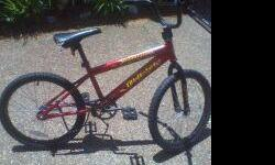 BOYS 20IN. QUEST COBRA BIKE FORSALE FOR $10.00. ROUND METAL PIECE WHERE CHAIN GOES IS SLIGHTLY BENT IF YOU WANT TO BUY PART OR CAN YOURSELF BEND BACK IT WOULD BE A GOOD BIKE. OR COULD BE USED FOR BIKE PARTS LIKE TIRES. IF INTERESTED EMAIL