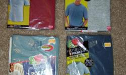 17 Like New Pocket T-Shirts, size XL - .25 each Brand New WearGuard Insulated Pants, size Large, Color Black, Insulated with Thinsulate, Sleet, Mud, Rain & Snow Resistant, Inside Leg Cuffs keep Drafts out, Full Length Leg Zippers, Zippered Front Pockets