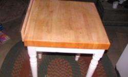 "You will love this Butcher Block free standing table. I have to part with it because I had an island built in my kitchen. I like my new kitchen but this table will be missed. 24"" X 24"". counter height. You will love it! If interested call Robin @"