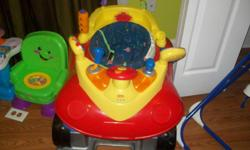 This car bouncer is so cute it makes sounds like a real car its in great shape and will make any baby happy! And other questions just ask me thank u!