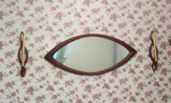 60's Style Cat Eye Design Mirror 2 Wooden Sconces