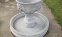 "Cement Fountain lion head bowl 35"" Tall 45"" Width"