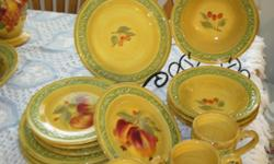 """Chris Madden for Home JC Penny collection. Service for four: dinner plates, soup bowls, dessert/salad plates, 3 mugs(1chipped), canister set, 13"""" wide, deep bowl, 17"""" oval platter, 12"""" high decorative pitcher, salt and pepper in holder, 12"""" high"""