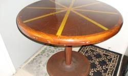 End Table with Glass Top -$10 Round Hardwood Dining Table-$20 Table Lamp w/shade and bulb-$10 Night Stand Lamp-$7 Rattan Coffee Table with Glass Top-$20 The Round Dining Table is 35in across and 29.5 in High The End table is 22 in L X 19.5 W X 18in H The