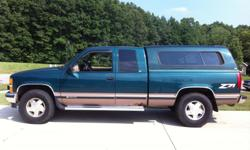 1997 Chevrolet Silverado 1500 Z71 Extended Cab 4X4 Truck; 5.7 Liter Vortec; V-8; Removable Fiberglass Top; Bedliner; Loaded with Leather, CD player, air, power locks, power windows, power driver's seat, bucket seats, tilt wheel, 3rd door, ABS, tow; New