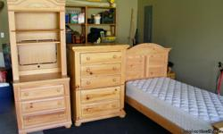single bed with matress, tall TV etargere' with drawers, chest of drawers. All good condition.