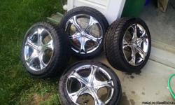 Chrome Rims and Tires. 215/50/17 New Tires. Rims fair condition some scratches can be buffed out. And wheel locks. Moving must sell. $900 or MAKE AN OFFER.