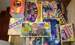 20+ classic board games plus various toys. Would prefer to sell as lot for BO. Actual games in good condition, with all parts and instructions. Some boxes have taped corners as shown in pictures. Some included: Sorry, Scrabble, Checkers, 8
