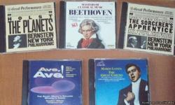 Pristine condition, in jewel cases; $2.00 each or 3 CDs for $5.00 Composers include Copland, Dvorak, Debussy, Mozart, Strauss, Wagner, Bach, Beethoven, Vivaldi, Handel, Holst, Grofe, and others plus anthologies