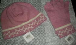 pink coach hat in gloves
