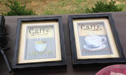 Kitchen Coffee Decor: Matching 8 piece plate and coffee cup set. Two framed coffee pictures. Target painting of coffee cups.