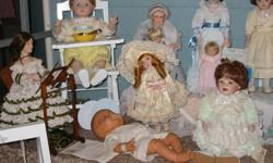 all of these dolls are in mint conditions i collected them from 1988 they are all at least 20 years old they have been boxed up not displayed most have there original box but not all.the artists are YOLANDA BELLOS/SANDRA KUCK/ELKA HUTCHENS/DIANNNA EFFNER