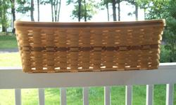 """LONGERBERGER BASKET/BABY CRADLE: signed and dated - 1986 Natural wood/no finish on it 30""""L X 22""""W X 10""""H"""