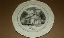 This is a Collector Plate made by Tatler of Trenton. It depicts the Original First Baptist of New Market, founded 1852. It comes with the original display stand, and both are in excellent condition.
