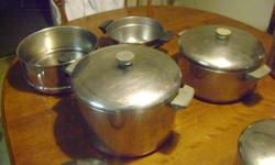 Revere Ware brand. Several pots, all with lids. Copper bottoms. Used, but still in good condition. Asking $100. Email me at phbelair55@yahoo.com or call 702-403-9805.