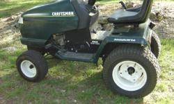 1988 Craftsman utility tractor only, no mower or attachments. Tractor has a Kohler 20 H.P. twin cyl. engine. Electric start, working headlamps. Hydrastat varible speed transmission. Rear tires 23x10.5-12. Front tires