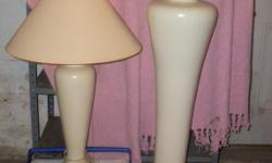 I have a cream colored table lamp and floor lamp set. They are excellent lamps and well made!!! They are heavy as they are not the cheap ones. They were pricey when we purchased them a few years ago. I just remodeled and purchased new so these have to go