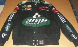 This is a Dale Earnhardt JR Amp/National Guard Twill Jacket in size Large. It has only been worn once, and is in as new condition.