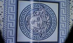 Greek Wall Mural Mosaic Ceramic 16 Tile Design - Focus point of your bathroom or Shower Wall, used in Pool Areas  or above indoor Ponds. Great Greek Apollo Center with a Greek key Border in a circular Design, Normally prived at 695.00 now only At $