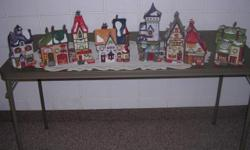 Original buildings with boxes for storage or many people leave the houses out year around and enjoy them so much. These houses are lighted. You will be delighted with these for years to come. Collectors-buy and then sell individually and make dollars on