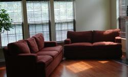 """Designer Brick-Red Chenille Sofa and Loveseat Maurice Villency, gently worn, firm construction; comfortable! Melding households; must make room! Dimensions: Sofa: 87"""" L x 36"""" D x 34"""" H Loveseat: 73"""" L x 36"""" D x 34"""" H"""