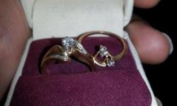14K gold, 2 peice, 1ct. total weight, diamond wedding band.Cash only. Paid 1400. asking 800 obo.text only. 720-599-4322.