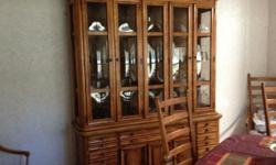 Dinette table and eight chairs,Hutch,China cabinet made by Stanley.