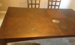 5 piece dinning table in. Good condition, only thing is there is a big white mark on the table , but cannot be shown when you cover with a table cloth. We are moving , will take best offer.must be sold and pickup by Sunday 11.00 am