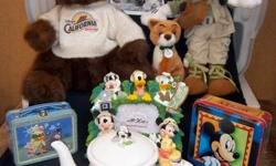 """A whole lot of Disney Collectible items from 1980 - 2001. The items are stored in 15 plastic storage crates about 2' x 1.5' x 16"""". These are new items in original packaging except for some of the clothing items (unused, but not in packaging)."""
