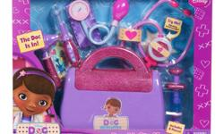 Disney Doc McStuffins Doctor's Bag   Doc McStuffin's Bag Set includes 8 glittery and sparkly Pieces Features Doc's bag, play thermometer, syringe, blood pressure cuff, otoscope, bandage cuff, sticker sheet and Doc's magical stethoscope The set