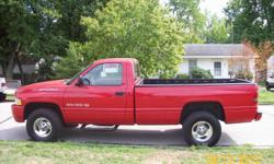 1999 Dodge Ram Sport 1500 4x4,Red, power Steering,windows,locks,rear sliding window,amfm cass. CD,Cruise,tilt, AC,Nerf Bars,Nice wheels and Street Tires,132 K miles,Bed Liner,Nice ride,V8. 4x4 works great. no rust or dents.nice truck