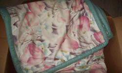 DOUBLE BED COMFORTER AND SHAMS SET IN VERY GOOD CONDITION - TULIP DESIGN PINK AND LIGHT GREEN ON WHITE JUST REDUCED FROM $20 TO $15